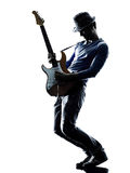 Man electric guitarist player playing silhouette Royalty Free Stock Images