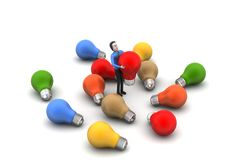Man with electric light bulb Royalty Free Stock Photos