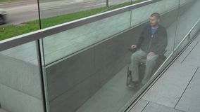 4k resolution follow of a man on electric wheelchair using a ramp. Accessibility concept