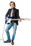 Man with electro guitar. Isolated on white background Stock Photos