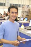 Man in electronics fair Stock Photo