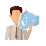 Man with Elephant Mask Flat Design Illustration. Man character in shirt and tie with elephant mask in hand vector. Flat design. Masquerade animal clothing and Stock Photos