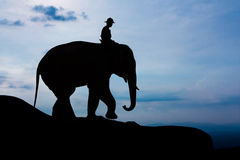 Man and elephant on the mountain Royalty Free Stock Photography