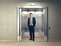 Man in elevator royalty free stock photos