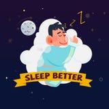 Man eller lura att sova på en bekväm molnsäng trevlig dröm och s vektor illustrationer