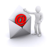 Man with email envelope Stock Image