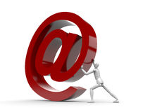 Man and email sign. Man bring up email sign Stock Image