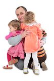 Man embrace three kids Stock Photo