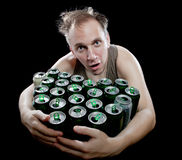 The man embraces beer banks Stock Images