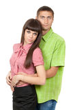 A man embraces a girl in the studio Royalty Free Stock Photo