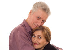 Man embraces a woman on a white background Stock Image