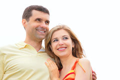 Man embraces young woman Royalty Free Stock Images
