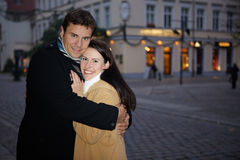 Man embracing woman in winter Royalty Free Stock Images