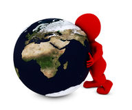Man embracing the world. 3D Render of Man embracing the world Royalty Free Stock Photos