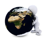 Man embracing the world. 3D Render of Man embracing the world Royalty Free Stock Images