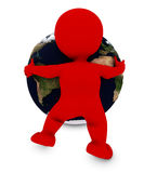 Man embracing the world. 3D Render of Man embracing the world Royalty Free Stock Image