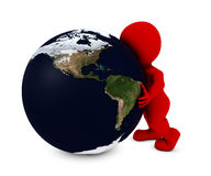 Man embracing the world. 3D Render of Man embracing the world Royalty Free Stock Photo