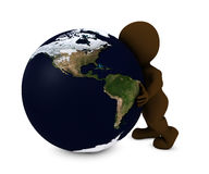 Man embracing the world. 3D Render of Man embracing the world Stock Image