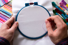 Man embroider colored thread Royalty Free Stock Photos