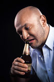 Man emotionally open beer teeth Stock Photo