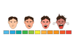 Man emotions Angry power scale. Man emotions increasing Angry power scale vector illustration
