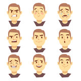 Man emotions faces vector cartoon business characters set Stock Image