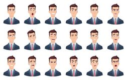 Man emotions. Facial characters different faces sadness hate smile head portrait vector characters. Head avatar angry face, happy emotion illustration stock illustration