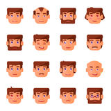 Man emotions set. Man facial expression with a beard, mustache and without them Royalty Free Stock Photo