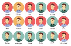Man emotions set. Fun and sad, angry and joy stock illustration