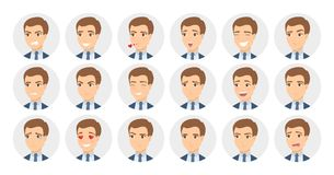 Man emotions set. Sad and happy, tired and lazy stock illustration