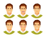 Man emotions vector 2. Set of male facial expressions. Different feelings and emotions. Vector humorous illustration, part 2 Stock Images