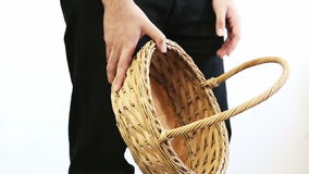 Man with Empty Basket. Disappointed fruitless man holding an empty basket stock video