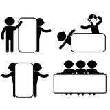 Man Empty Blank Signboard Banner. Stitch figures black  icon Stock Photos