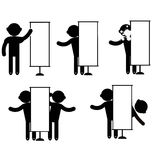Man Empty Blank Signboard Banner. Stitch figures black  icon Royalty Free Stock Image