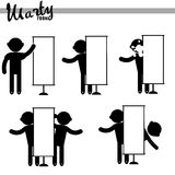 Man Empty Blank Signboard Banner. Stitch figures black isolated icon Royalty Free Stock Photos