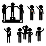 Man Empty Blank Signboard winner. Stitch figures black  icon Royalty Free Stock Image