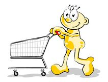 Man with Empty cart stock images