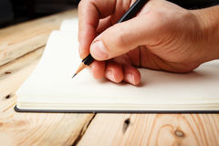 A man with an empty notebook. Royalty Free Stock Photo