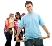 Man with empty pockets from shopping Stock Photography