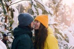 Man en de vrouw die zich dicht bij elkaar onder gevallen sneeuw de bevinden, besteden samen het concept van de de wintervakantie royalty-vrije stock afbeelding