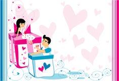 Man en de vrouw op dozen. vector illustratie