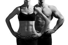 Man en een vrouw in de gymnastiek Stock Foto