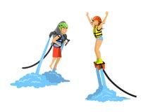 Man en van de vrouwen het flyboarding en rit water jetpack vector illustratie