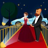 Man en Vrouw bij VIP Gebeurtenis Vectorillustratie stock illustratie