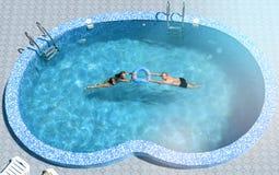 Man en vrouw in de pool Stock Afbeelding