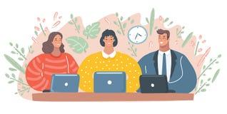 Man en vrouw die aan hun computers werken stock illustratie