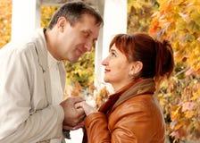 Man en vrouw die elkaar bekijken Stock Afbeelding