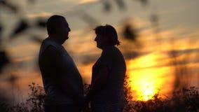 Man en vrouw die elkaar op de zonsondergangachtergrond onder ogen zien stock video