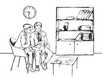 Man en vrouw die met documenten in het bureau werken Royalty-vrije Stock Afbeeldingen