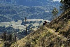 Man en Vrouw die op Bergsleep wandelen Stock Afbeeldingen